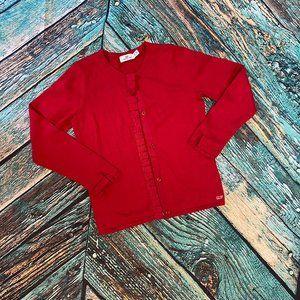 Vineyard Vines Red Ruffle Cardigan Sweater M